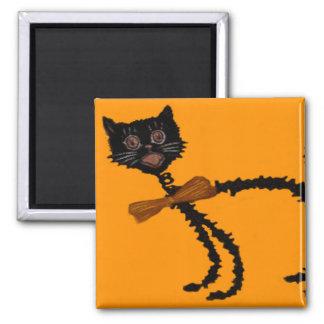 Decoración elástica de Halloween del gato negro Imán