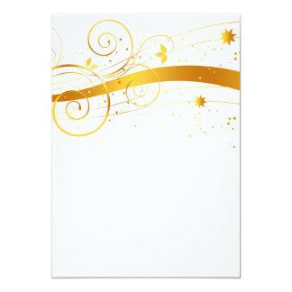Decoración floral de oro del navidad invitación 12,7 x 17,8 cm
