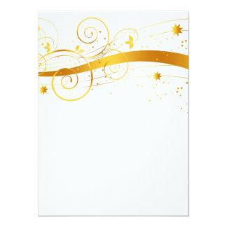 Decoración floral de oro del navidad invitación 13,9 x 19,0 cm