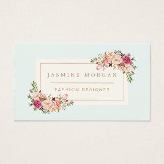 Decoración floral del boutique de la acuarela en tarjeta de negocios
