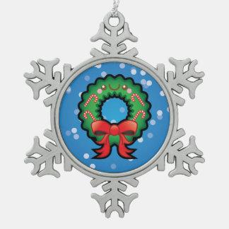 Decoración linda de la guirnalda del árbol de adorno de peltre en forma de copo de nieve