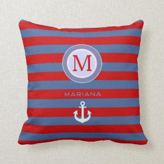 decoración náutica agradable del monograma rayada cojín