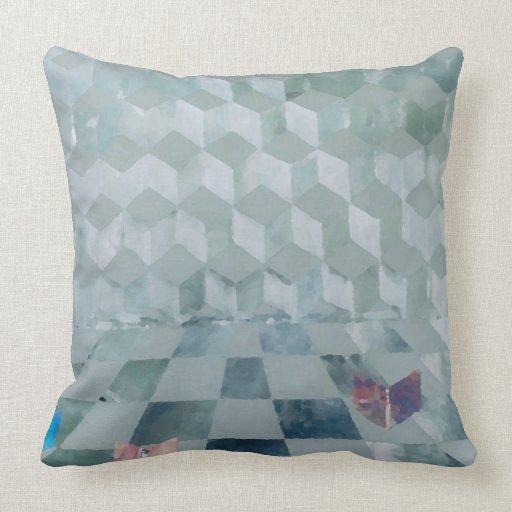 Decoración óptica de la almohada del gris de plata