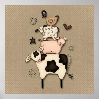 Decoración primitiva de la vaca de las ovejas de posters