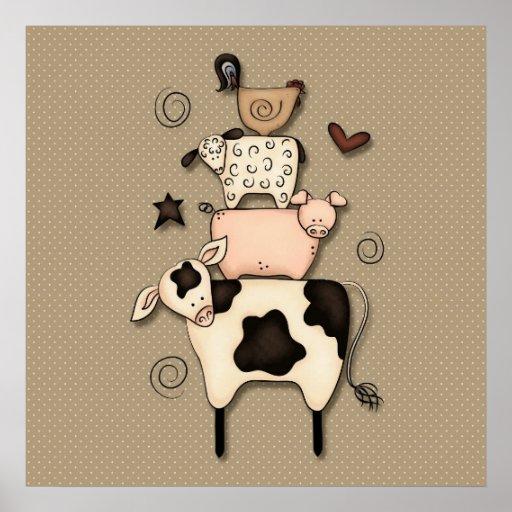 Decoración primitiva de la vaca, de las ovejas, de posters