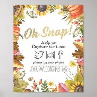 Decoración rápida del boda de Hashtag de las hojas