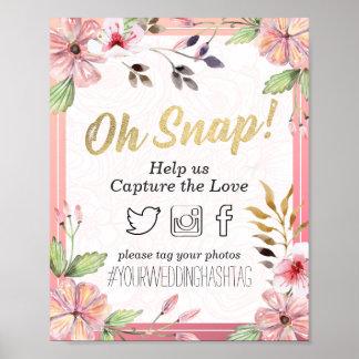 Decoración rápida floral del boda de Hashtag de la