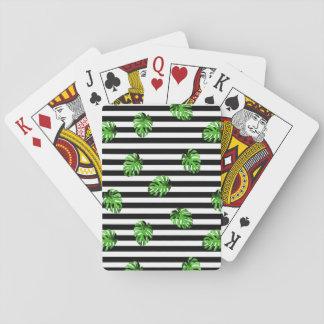 Decoración rayada blanca del negro tropical de barajas de cartas