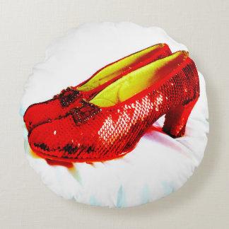 ¡Decoración roja de rubíes de la almohada de tiro Cojín Redondo