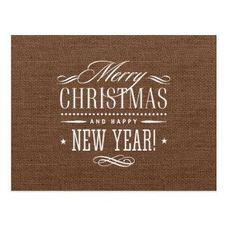Decoración rústica de las Felices Navidad de la Postal
