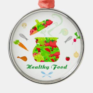 decoración sana de la comida adorno navideño redondo de metal