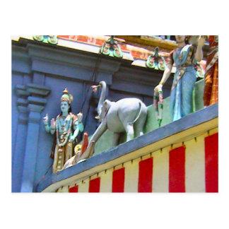 Decoración, señoras y animales del templo hindú postal