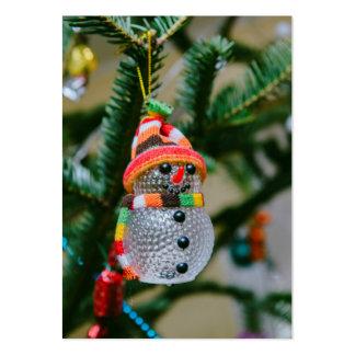 Decoración transparente del navidad del muñeco de tarjetas de visita grandes