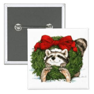 Decoración y mapache de la guirnalda del navidad chapa cuadrada