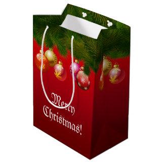 Decoraciones coloridas del navidad bolsa de regalo mediana