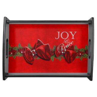 Decoraciones de la guirnalda del navidad de la paz bandeja