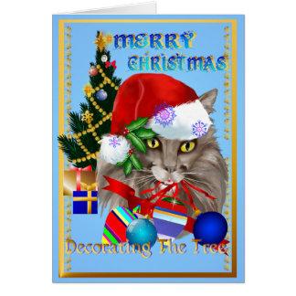 Decoraciones del navidad del gatito tarjeta