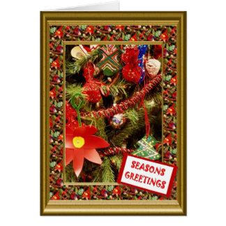 Decoraciones del navidad del vintage, los saludos  tarjeton