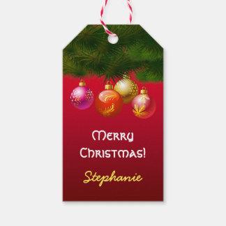 Decoraciones festivas del árbol de navidad etiquetas para regalos