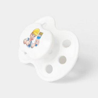 Decorador del pintor de la manitas con la brocha chupetes para bebes