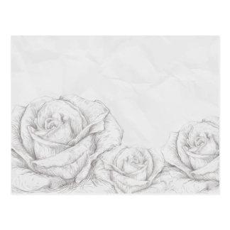 Decorativo gris floral de los rosas del vintage postal