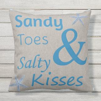 Dedos del pie de Sandy de la almohada del patio y Cojín Decorativo