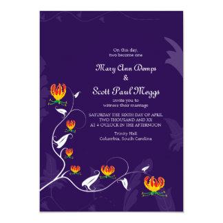 Deep Purple con el lirio vibrante del gloriosa Invitación 12,7 X 17,8 Cm
