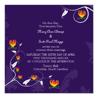 Deep Purple con el lirio vibrante del gloriosa Invitación 13,3 Cm X 13,3cm
