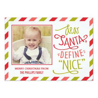 Defina Niza la tarjeta de la foto del navidad Invitación 12,7 X 17,8 Cm
