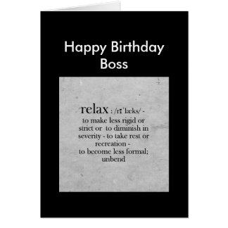 Definición de Boss del feliz cumpleaños del humor Tarjeton
