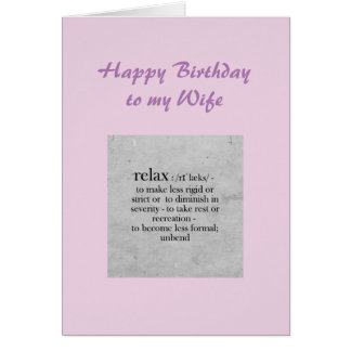Definición de la esposa del cumpleaños del humor tarjeta de felicitación