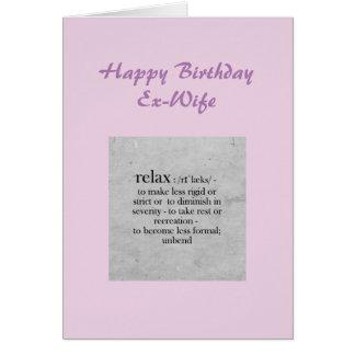 Definición de la exmujer del cumpleaños del humor tarjeta de felicitación