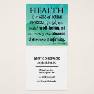 Definición de la quiropráctica de la acuarela de tarjeta de visita cuadrada