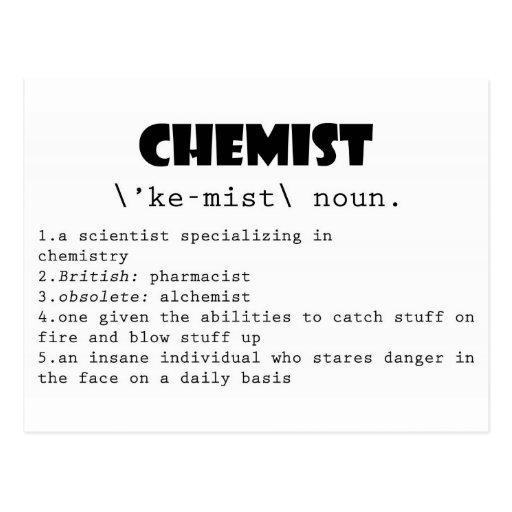 Definición del químico tarjeta postal