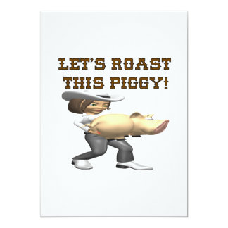 Deja la carne asada este cerdo invitación 12,7 x 17,8 cm