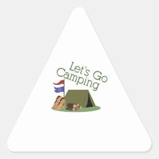 Deja para ir a acampar pegatina triangular