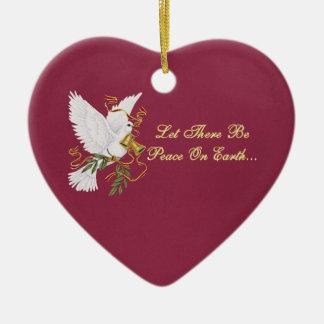 dejado haya paz en la tierra adorno navideño de cerámica en forma de corazón
