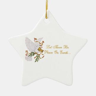 dejado haya paz en la tierra adorno navideño de cerámica en forma de estrella