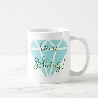 ¡Dejado lo Bling! Diamante Taza De Café