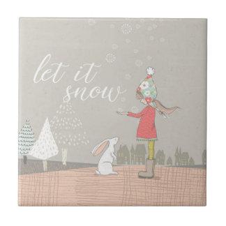 Dejáis le nevar chica y conejito azulejo