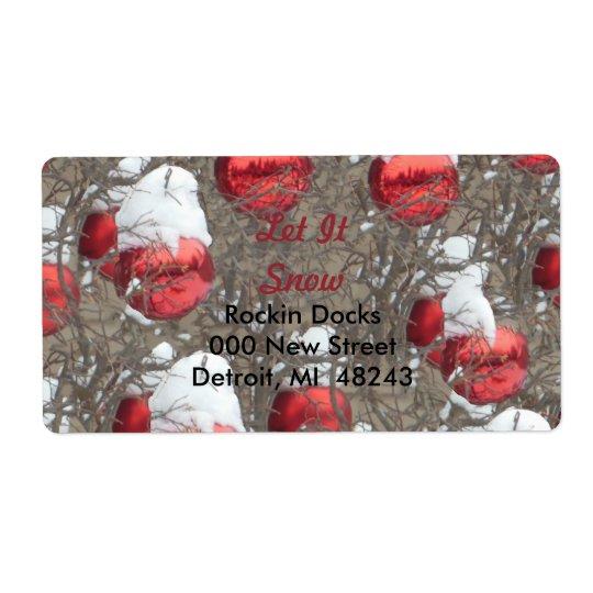 Dejáis le nevar ornamentos rojos brillantes etiqueta de envío