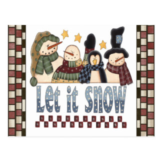 Dejáis le nevar postal de los muñecos de nieve