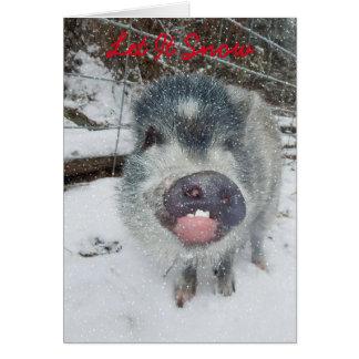 Tarjeta Dejáis le nevar tarjeta del cerdo del navidad