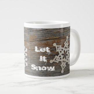 Dejáis le nevar taza con imagen del copo de nieve