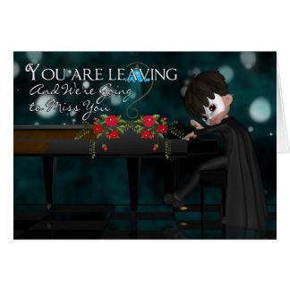 Dejar la tarjeta con el muchacho que juega el pian