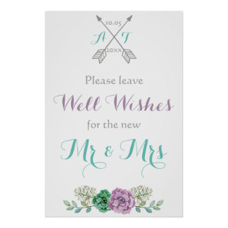 Deje a su señalización de los deseos la flor póster