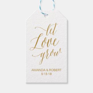 Deje el amor crecer la etiqueta del favor del boda