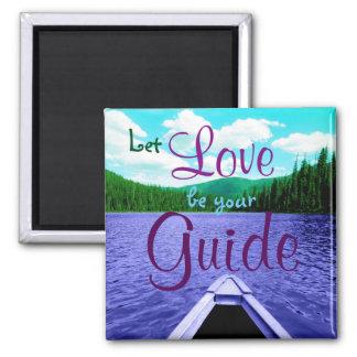 Deje el amor ser su canoa de la guía en el lago imán