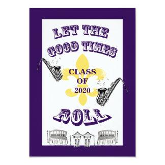 Deje la buena púrpura de la fiesta de graduación invitación 12,7 x 17,8 cm