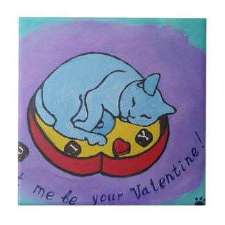 Déjeme ser su tarjeta del día de San Valentín Azulejo De Cerámica